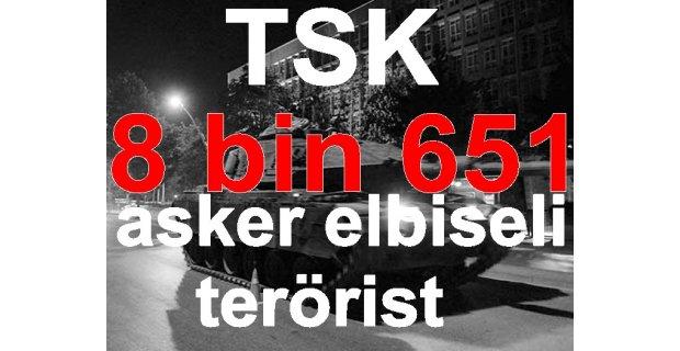 TSK: Darbe girişimine 8.651 asker elbiseli terörist katıldı