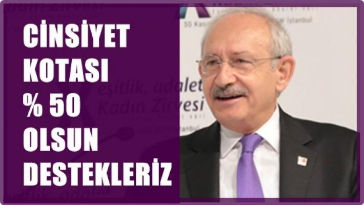 """Kılıçdaroğlu;""""Siyasi partiler yasasında cinsiyet kotası yüzde 50 olsun"""""""