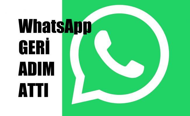 WhatsApp Geri Adım Attı