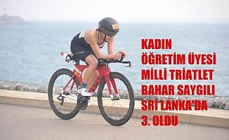 Kadın öğretim üyesi, milli triatlet Bahar Saygılı, Sri Lanka'da 3.oldu